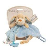 Baby Hug - Zornaitoare de plus Catelus Cu inele, Paturica, Cu jucarie dentitie, Albastru