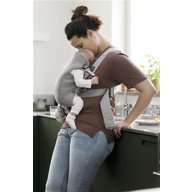 BabyBjorn - Marsupiu anatomic Mini, cu pozitii multiple de purtare – Light Grey, 3D Jersey