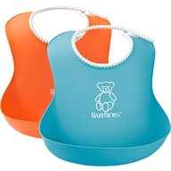 BabyBjorn - Set 2 bavete Soft Bib, Orange/Turquoise