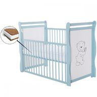 BabyNeeds - Patut din lemn Jas Ursulet 120x60 cm, cu laterala culisanta, Mint + Saltea 12 cm