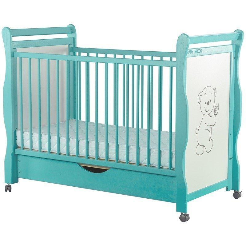BabyNeeds Patut din lemn Jas Ursulet 120x60 cm cu sertar Mint Resigilat