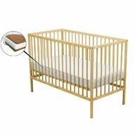 BabyNeeds - Patut din lemn Maks 120x60 cm, Natur + Saltea 12 cm