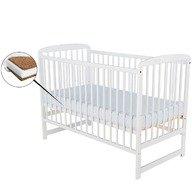 BabyNeeds - Patut din lemn Ola 120x60 cm, Alb + Saltea 10 cm