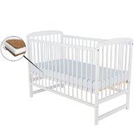 BabyNeeds - Patut din lemn Ola, 120X60 cm, Alb+ Saltea 8 cm