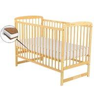 BabyNeeds - Patut din lemn Ola 120x60 cm, Natur+ Saltea 12 cm