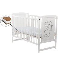 BabyNeeds - Patut din lemn Timmi 120x60 cm, Alb + Saltea 12 cm