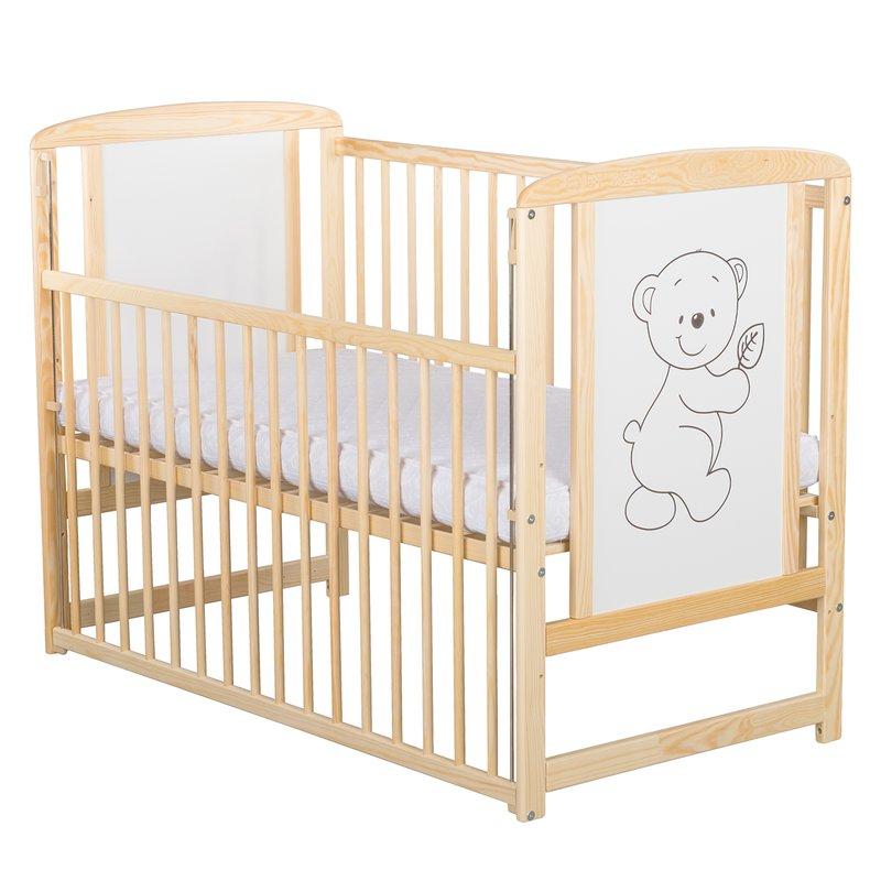 BabyNeeds Patut din lemn Timmi 120x60 cm cu laterala culisanta Natur