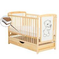 BabyNeeds - Patut din lemn Timmi 120x60 cm, cu sertar, Natur + Saltea 10 cm