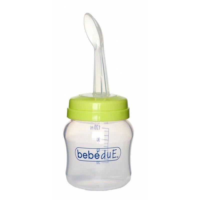 BebeduE Biberon din silicon 120 ml cu lingurita BebeduE 80168 din categoria Biberoane de la BebeduE