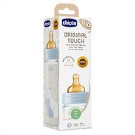 Chicco - Biberon sticla  Original Touch 240ml, tetina cauciuc, flux lent, unisex, 0luni+