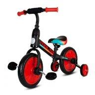 Sun Baby - Bicicleta cu pedale Molto Leggero , 2 in 1, Cu roti ajutatoare, Cu sau fara pedale, Rosu