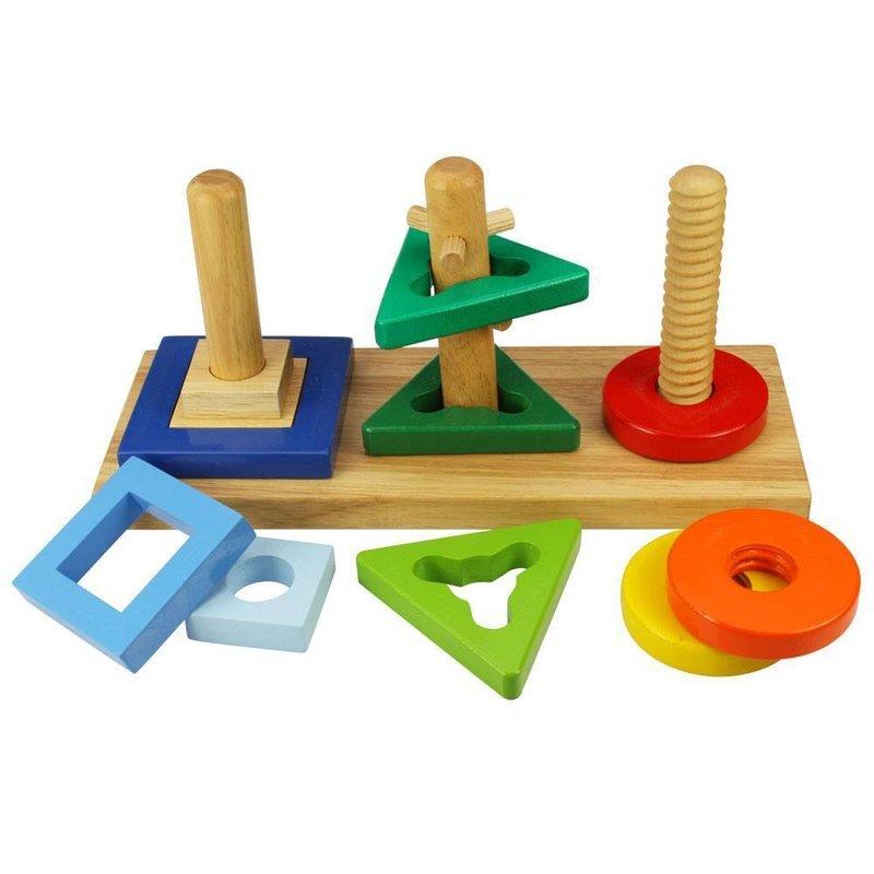 BigJigs Joc de potrivire – 3 forme geometrice din categoria Jucarii de lemn de la BigJigs