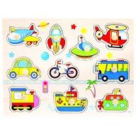 Bino - Puzzle copii din lemn, Mijloace transport, 11 piese