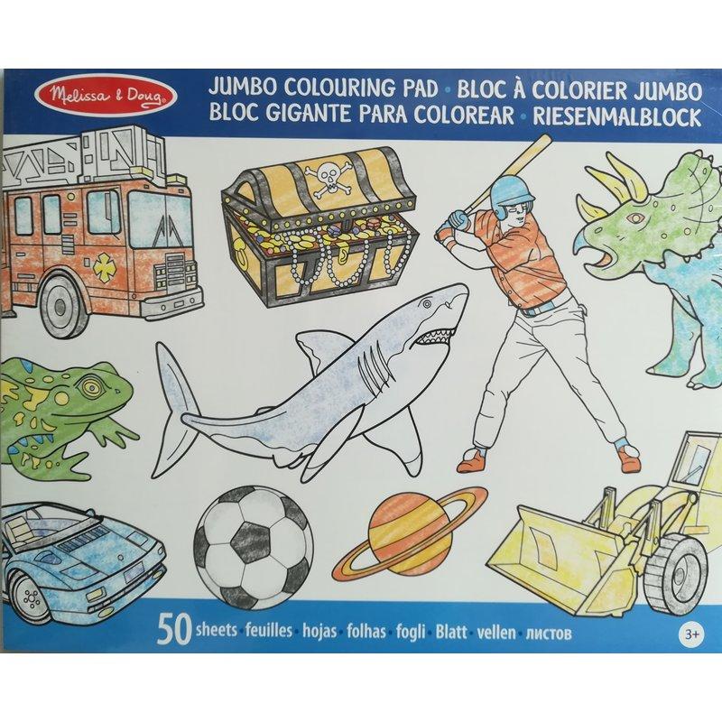 Melissa and Doug caiet jumbo cu desene pentru colorat albastru