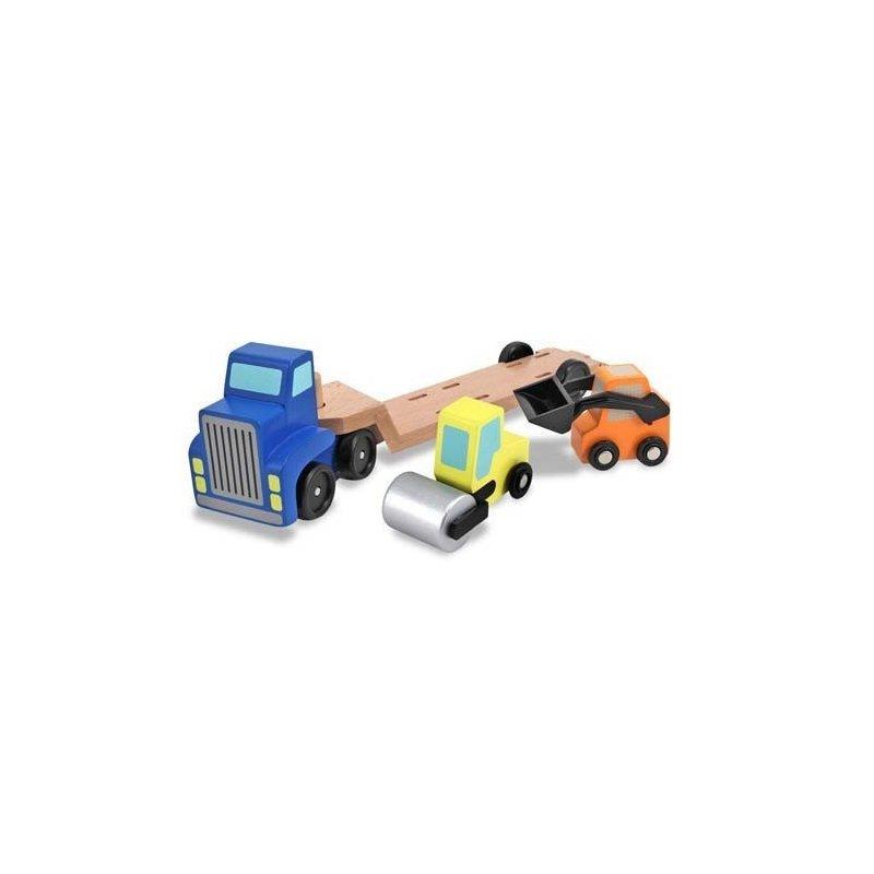 Camion transportor cu platforma cu utilaje de constructii Melissa and Doug din categoria Jucarii de lemn de la Melissa & Doug