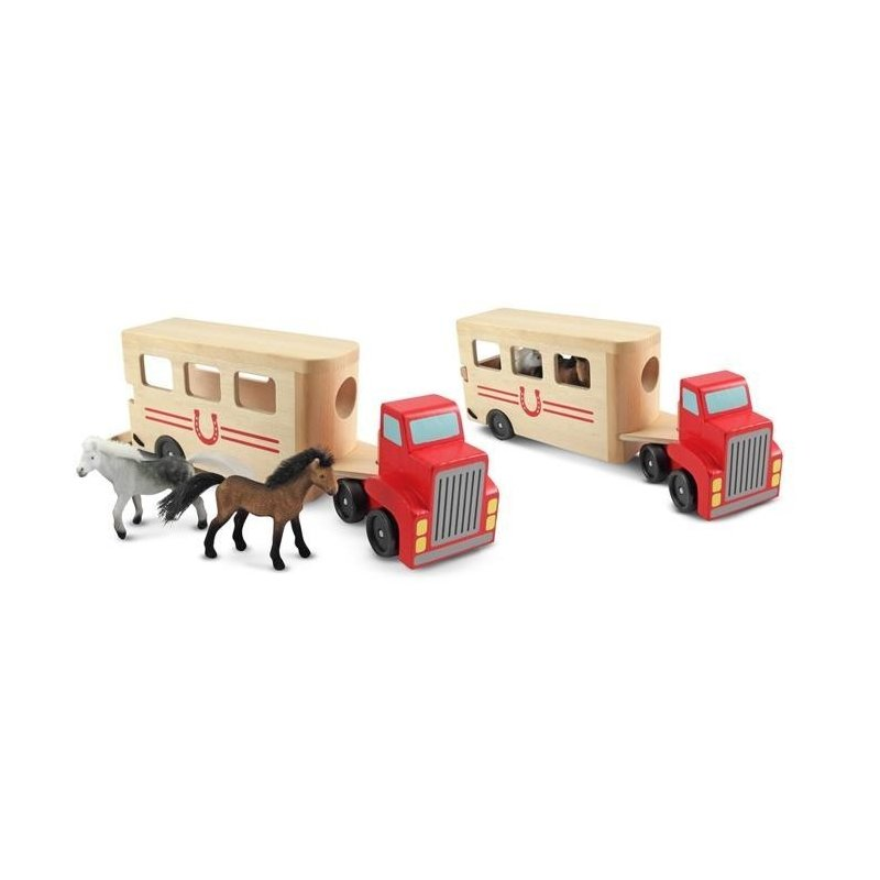 Camion Transportor de Cai cu Remorca Melissa and Doug din categoria Jucarii de lemn de la Melissa & Doug