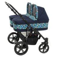 Pj Baby - Carucior copii gemeni 3 in 1 Side by Side PJ Stroller, Lovely Blue Leaves