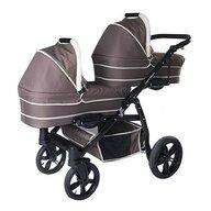 Pj Baby - Carucior gemeni 3 in 1 Tandem Pj Stroller Lux , Brown