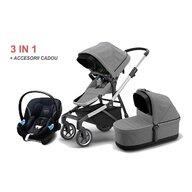 Thule - Carucior 3 in 1 Sleek Cu accesorii, Cu scaun auto, Cu landou Melange, Gri