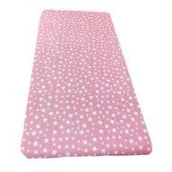 Deseda - Cearsaf cu elastic pe colt cu imprimeu Stelute pe roz-160*80 cm