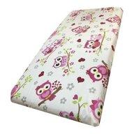 Deseda - Cearsaf cu elastic roata cu imprimeu Bufnite indragostite roz-160*80 cm
