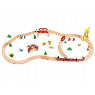 Ecotoys - Tren din lemn Circuit HM180995 Cu 53 de piese