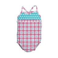 Iplay - Costum de baie fetita cu scutec inot integrat, 24 luni, SPF50+, Pink Squares