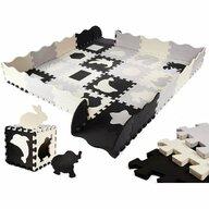 Ikonka - Covoras puzzle 36 piese, Cu laterale, Gri/Negru