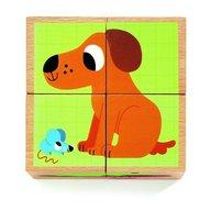 Djeco - Cuburi din lemn Animale