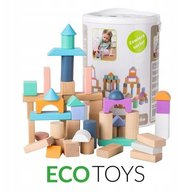 Ecotoys - Cuburi din lemn 100 piese