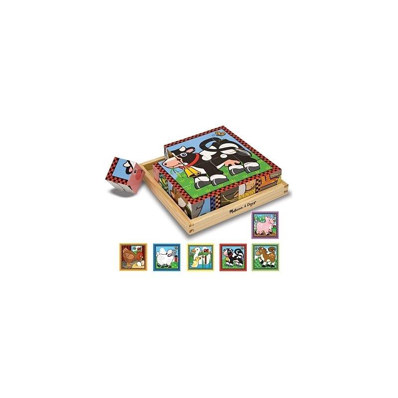 Cuburi Ferma Melissa and Doug din categoria Puzzle copii de la Melissa & Doug