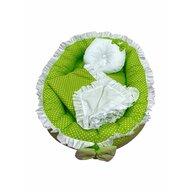 Deseda - Cuib baby nest bebelusi cu volanase  paturica si pernuta Verde cu buline albe LUX