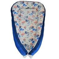 Ingrid's Fabrics - Suport de dormit Cuib bebelusi Avioane din Bumbac, 90x50 cm, Albastru