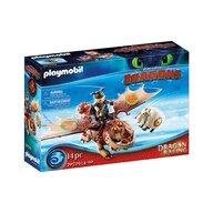 Playmobil - Set de constructie Cursa dragonilor - Fishlegs si Meatlug , Dragons