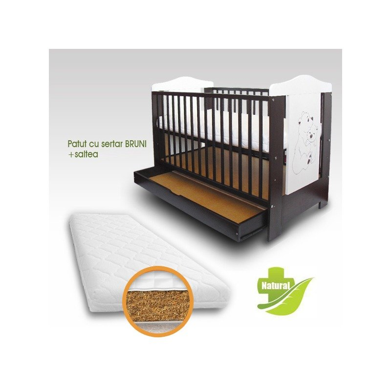 First Smile Patut copii Bruni cu sertar + Saltea Bio din categoria Patuturi din lemn de la First Smile