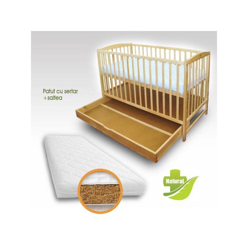 First Smile Patut copii Natur cu sertar + Saltea Bio