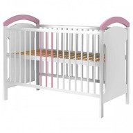 Hubners Patut copii din lemn Anita 120x60 cm alb-roz