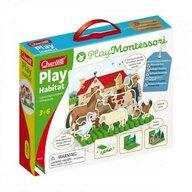 Quercetti - Joc educativ Play Montessori - Habitat Animale domestice la ferma si animale salbatice in padure