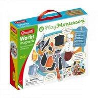 Quercetti - Joc educativ pentru copii Play Montessori Works Magnetic - Tablita cu 2 fete meserii magnetice