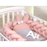 Jolie - Suport de dormit Baby nest Pure Impletit, 240x21 cm, Roz