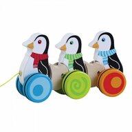 Jumini - Jucarie de tras din lemn Pinguini