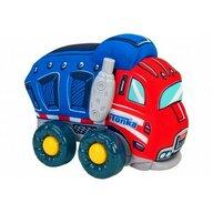Globo - Jucarie moale pentru copii tip Camion Tonka cu sunete, cu roti si accesorii din plastic, Albastru