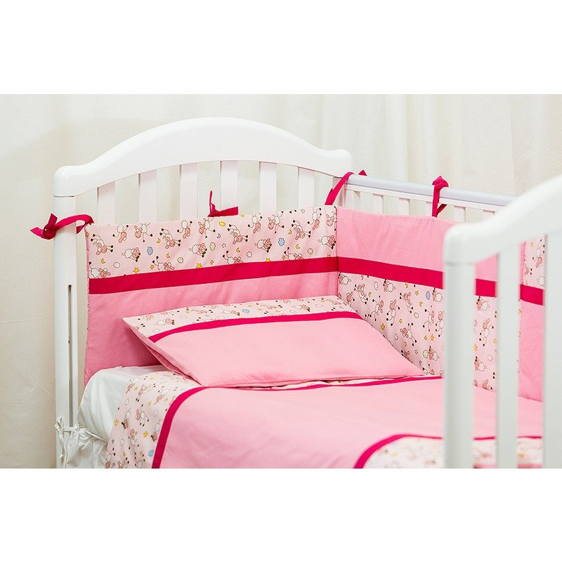 Kidsdecor Lenjerie patut 3 piese Blanite roz new born