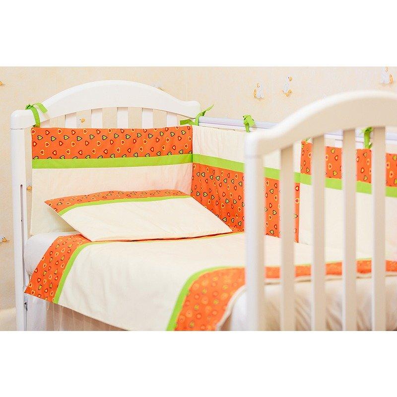 Kidsdecor Lenjerie patut 3 piese Inimioare portocalii cu verde kids