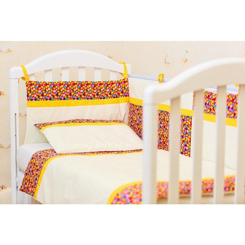 Kidsdecor Lenjerie patut 3 piese Maruntei rosii cu galben kids din categoria Lenjerie patuturi de la Kids Decor