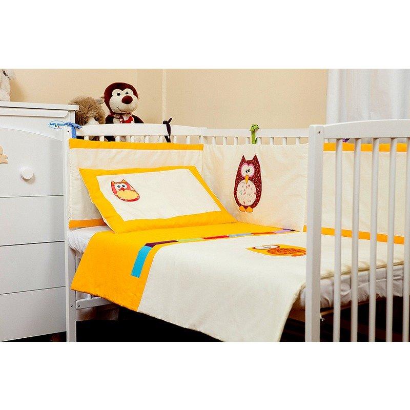 Kidsdecor Set de pat 2 piese Bufnite Brodate 100x135