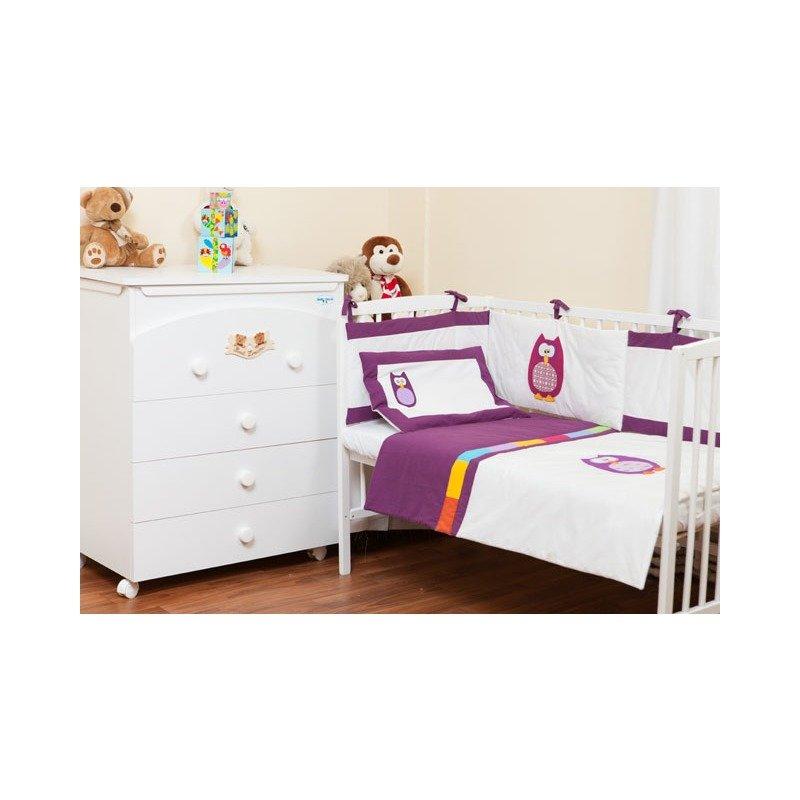 Kidsdecor Set de pat 2 piese Bufnite Brodate 110x125