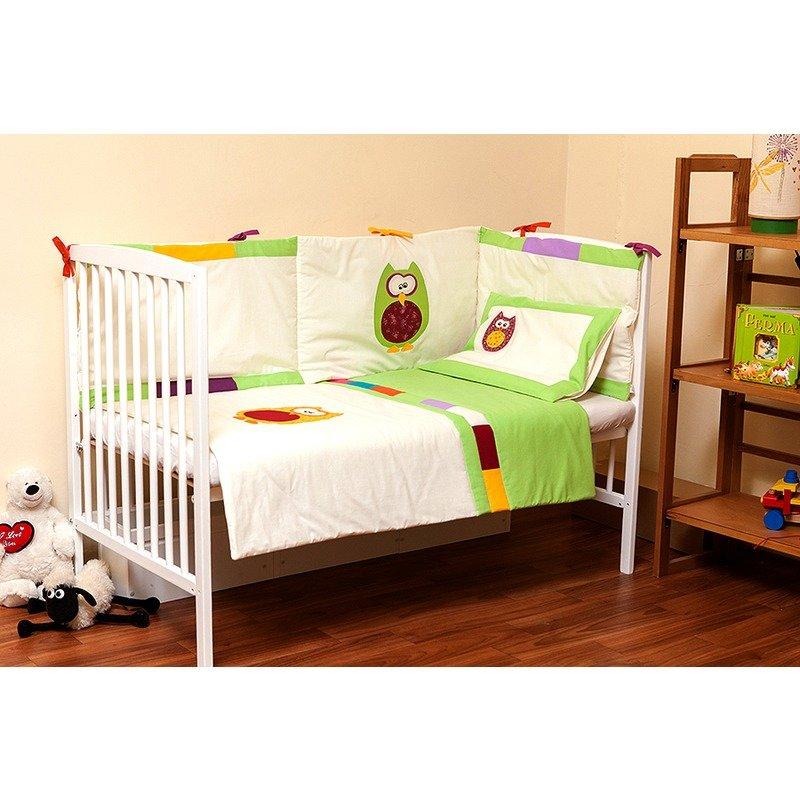Kidsdecor Set de pat 4 piese Bufnite brodate baby din categoria Lenjerie patuturi de la Kids Decor