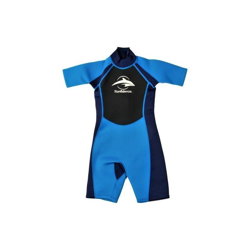 Konfidence - Costum inot din neopren pentru copii Shorty Wetsuit blue 7-8 ani din categoria Plaja apa si nisip de la Konfidence