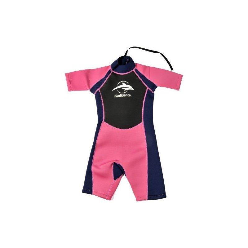 Konfidence - Costum inot din neopren pentru copii Shorty Wetsuit pink 7-8 ani